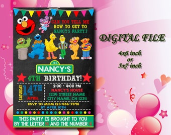 Sesame Street Invitation,Sesame Street Birthday,Sesame Street Birthday Invitation,Sesame Street Party,Sesame Street,Instant Download