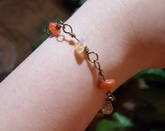 Agate Natural Stone Chip Wire Wrapped Link Bracelet