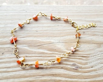 Agate Natural Stone Chip Bead, Handmade Wire Wrapped Link Anklet Ankle Bracelet
