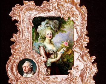 French Queen Marie Antoinette and her husband Louis XVI.Baroque frame #3.Wall Decor.
