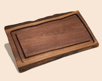 Walnut Live Edge Serving Board with Groove Well
