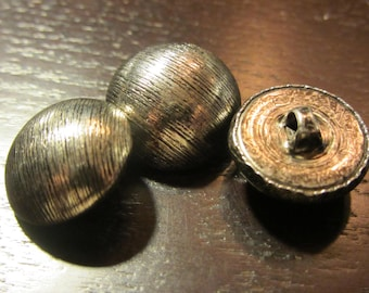Set of 3 brushed metal buttons