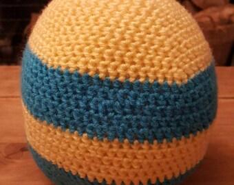 Crochet Easter egg, handmade, large egg, Photo prop, Stuffed egg, yellow and blue egg stripped egg