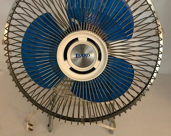 Vintage Lasko Stationary Office Desk Fan with Retro Blue Acrylic Fan Blades Funky and Functional