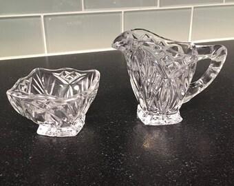 60's Pressed Glass Creamer and Sugar Bowl