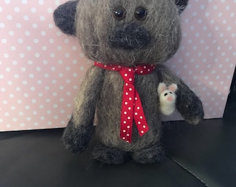 Needle felted cat with toy mouse