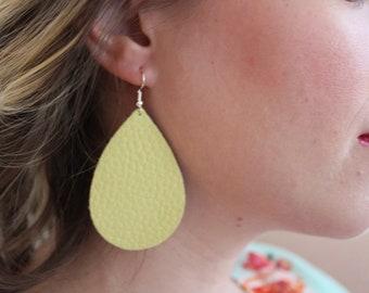 yellow leather lightweight teardrop earrings
