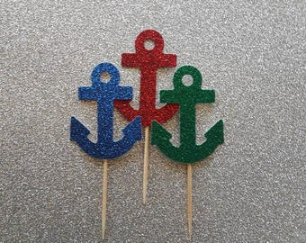 24 Pk Nautical Cupcake toppers; Anchor Cupcake toppers