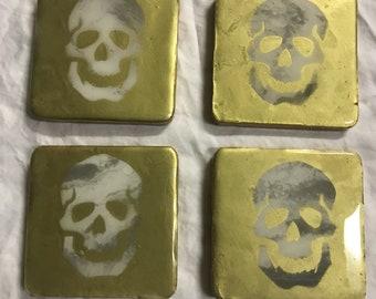 Gold Marble Skull Coasters