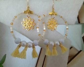 Cream and pale yellow earrings Bohemian
