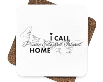 I Call PEI Home - Square Hardboard Coaster Set - 4 Pieces - Prince Edward Island