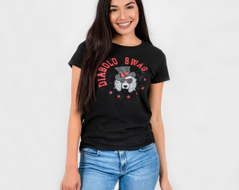 Diabolo Swag - graphic woman T-shirt - dog with Hat