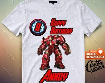 Iron Man Iron On Transfer, Iron Man Birthday Shirt DIY, Iron Man Shirt Designs, Iron Man Printable, Personalize, Digital Files