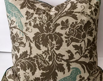 Taupe Grey Blue Floral Birds Decorator Throw Pillow 22 inch Square