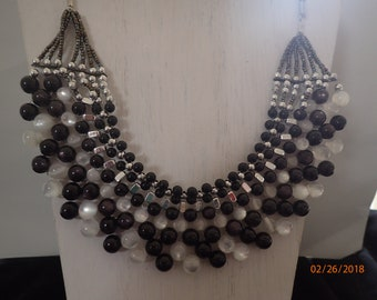 Black and White Beaded Bib Necklace
