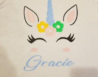 Unicorn with name shirt