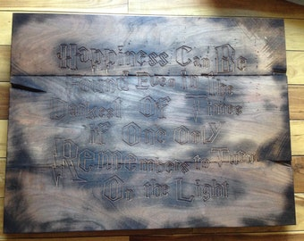 Engraved Harry Potter Quote on Oak Pallet