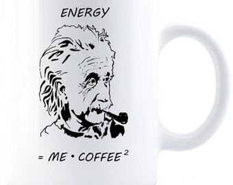 Energy = Me x Coffee2 -- Einstein Meme Coffee Mug - White Ceramic Mug