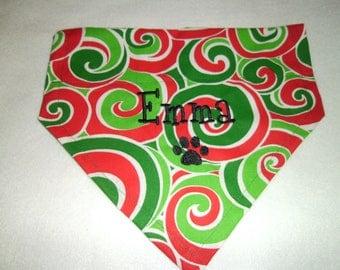 Santa, Dog Bandana, Paw,  Christmas, Monogram, Personalized, gift, Embroidery, Swirls, paw, Gift, photo shoot, dog lovers gift