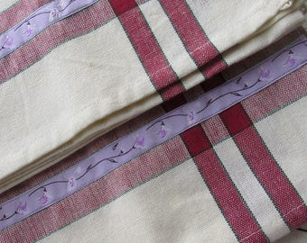 2 Lavender Jacquard Trim Retro Kitchen Cotton Tea Towels Ivory With Burgundy Stripes