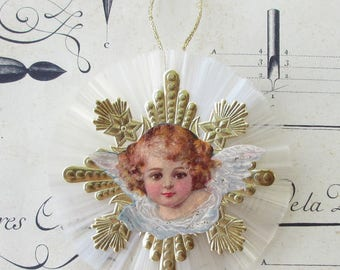 Spun Glass Medallion Vintage Style Christmas Ornament Victorian Angel Scrap Dresden Medallion