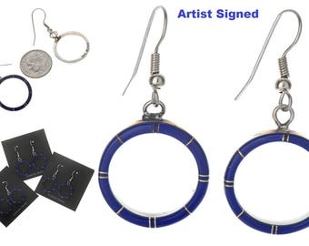 Inlaid Lapis Hoop Silver Earrings Silver French Hook Small Black Jet & Red Coral
