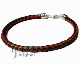 6mm black and brown braided leather bracelet or anklet metal clasp