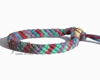 Ultra Soft Rainbow Burgundy/Purple/Pink/Blue/Green/Gray Hemp Diagonal Woven Surfer Bracelet/Anklet