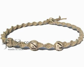 Natural Twisted Hemp White Bone Beads Surfer Choker Necklace