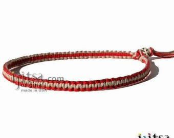Dark Red and Natural Flat Hemp Surfer Style Choker Necklace