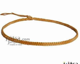 Golden Brown Rainbow Flat Hemp Surfer Necklace