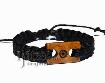 Adjustable Black Hemp Bracelet or Anklet with Brown Bone Bead