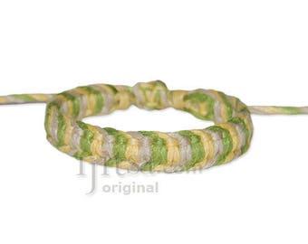Natural/Light Yellow/Pistachio Flat Hemp Adjustable Bracelet or Anklet