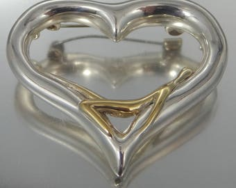 Unusual Sterling Silver with Gold Wash Figural Heart Brooch with Reclining Figure Valentine