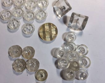Vintage clear plastic buttons  assorted lot