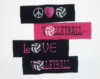 Clearance Set of 4 Volleyball Embroidered Headbands - Comes As Shown
