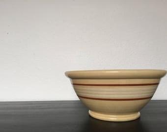 "Antique Yellow ware Bowl - 1930s 1940s - 10.25"" - Antique Mixing Bowl - Vintage Stoneware"