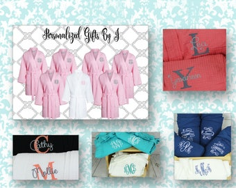 5 Personalized Bridesmaid Robes, Set of 5 ,Monogrammed Robe, Waffle Robe, Personalized Bridesmaids Gifts, Getting Ready Robe, Wedding Robes