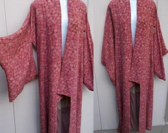 Vintage 30s to 40s Maroon Floral Silk Japanese Oversize Boho Kimono Robe or Long Duster Tunic Jacket