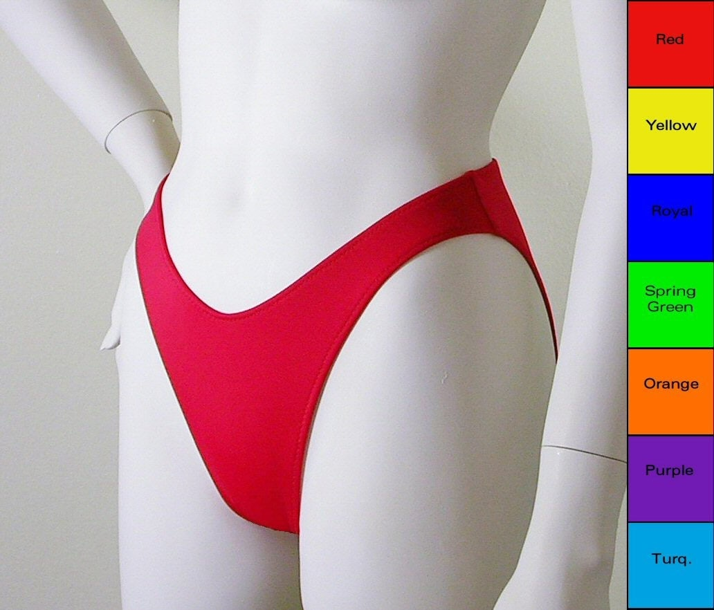 80s 90s High Leg Bikini Bottom With Moderate Coverage In
