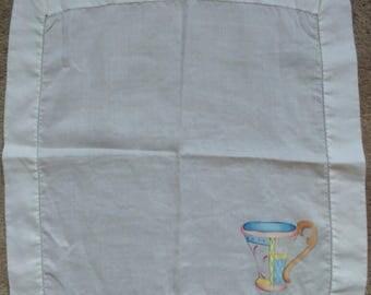 Vintage Handpainted Dinner Napkins Chalice Motif