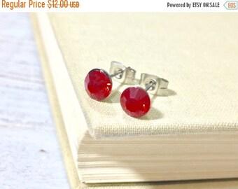 Christmas in July SALE. Red Rhinestone Stud Earrings, Small Red Rhinestone Studs, July Birthstone Studs, Red Glass Studs, Red Earrings, Surg