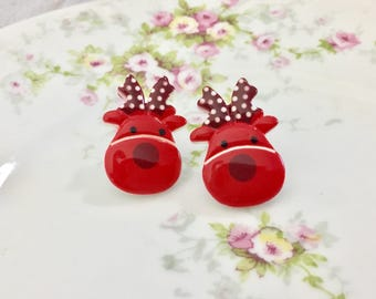 Large Novelty Red Reindeers with Polka Dot Antlers Christmas Holiday Stud Earrings, Surgical Steel Posts