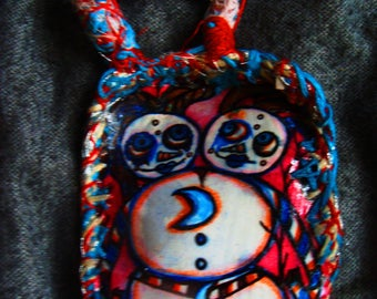 Conjoined Twin Snow Woman Winter Solstice Ornament Embroidery And Paper Drawing