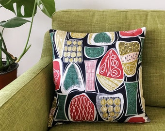 Mid Century Barkcloth Cushion Cover Vintage Atomic  Pillow 1950s Super-Rare