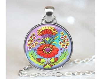 Red Flower Art Pendant, Flower Bouquet Pendant, Floral Necklace, Red Pendant, Glass Dome Pendant, Floral Art Pendant, Pendant Necklace 1449