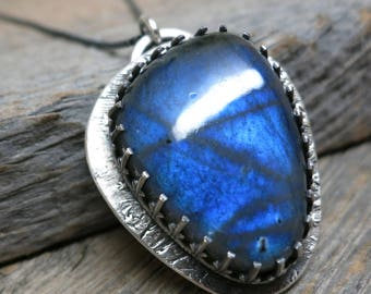Where the Light Enters necklace ... recycled fine silver / sterling silver gallery bezel / hazy blue fire labradorite