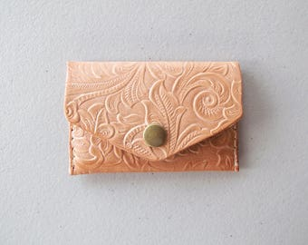Micro Wallet, Card Wallet, Card Case, Stamped Leather, Minimalist Wallet, Gift for Him, Holds five cards, Coin Purse, Tiny Wallet, Canadian