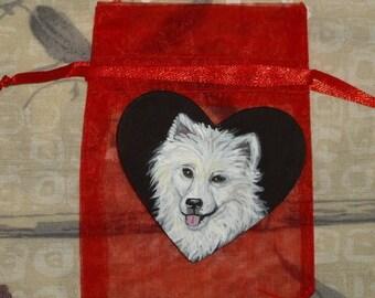 American Eskimo Dog Custom Hand Painted Pin Brooch Jewelry
