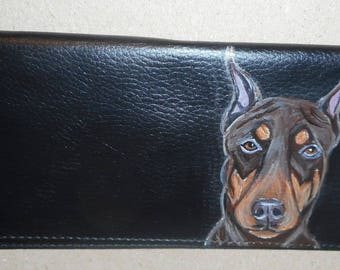 Doberman Pinscher Dog Custom Painted Leather Deluxe Checkbook Cover Checkbook Holder
